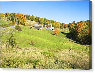 Maine Farm On Side Of Hill In Autumn Canvas Print by Keith Webber Jr