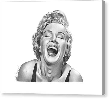 Canvas Print featuring the drawing  Marilyn Monroe - 034 by Abbey Noelle