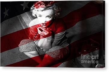 Celebrities Canvas Print -  Marylin Monroe by Marvin Blaine