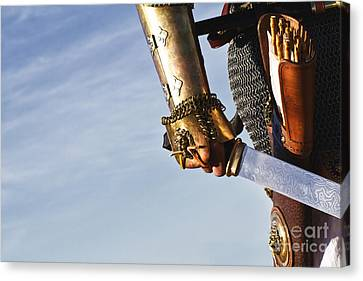 Medieval Knight And Sword Canvas Print by Holly Martin