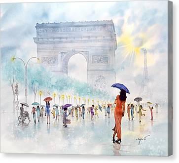 Memory Of Paris France Canvas Print by John YATO