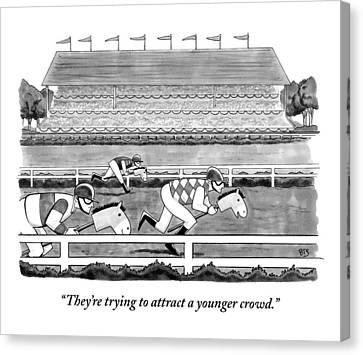 Men Race On Toy Horses Canvas Print by Benjamin Schwartz