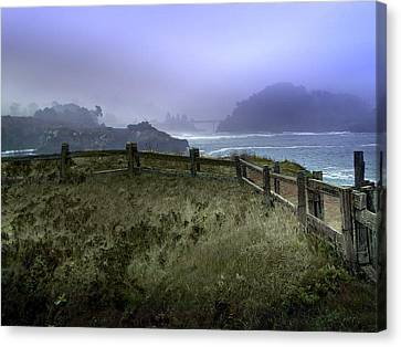 Mendocino Cliff Side Foggy Day   Canvas Print by Judy  Johnson