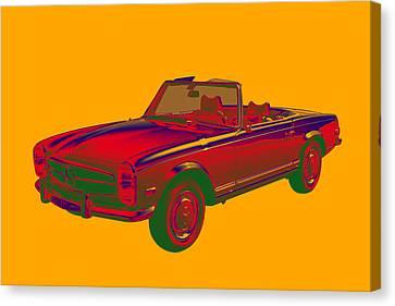 Mercedes Benz 280 Sl Convertible Pop Art Canvas Print by Keith Webber Jr
