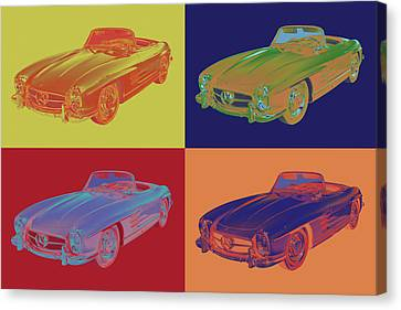 Mercedes Benz 300 Sl Convertible Pop Art Canvas Print by Keith Webber Jr