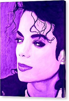 Canvas Print featuring the painting  Michael Jackson In Purple by Bob Baker
