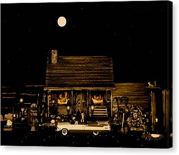 Miniature Log Cabin Scene With The Classic Old Vintage 1959 Dodge Royal Convertible In Sepia Color Canvas Print by Leslie Crotty