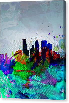 Minneapolis Watercolor Skyline Canvas Print by Naxart Studio