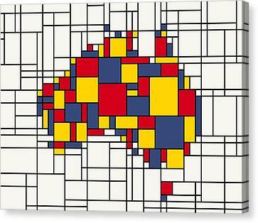 Abstract Map Canvas Print -  Mondrian Inspired Australia Map by Michael Tompsett