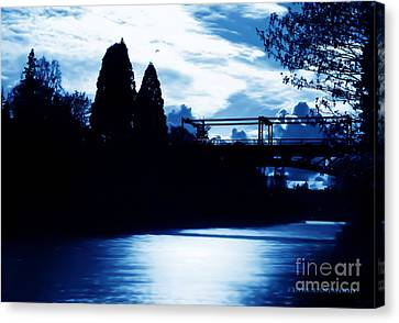 Canvas Print featuring the photograph  Montlake Bridge In Seattle Washington At Dusk by Eddie Eastwood