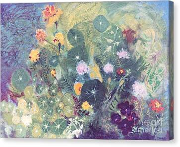Nasturtiums And Marigolds Canvas Print by Trudy Brodkin Storace