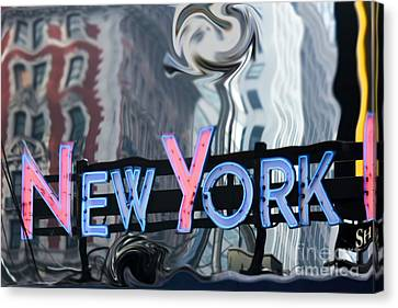 New York Neon Sign Canvas Print by Sophie Vigneault