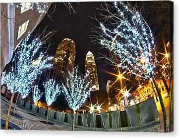 Nightlife Around Charlotte At Christmas Canvas Print by Alex Grichenko