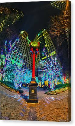 Nightlife Around Charlotte During Christmas Canvas Print by Alex Grichenko