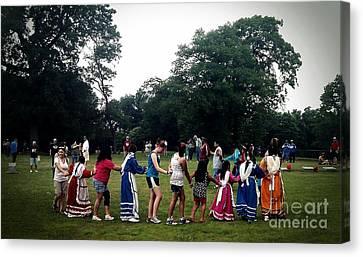 Oklahoma Choctaw Youth Dancing Canvas Print by R McLellan