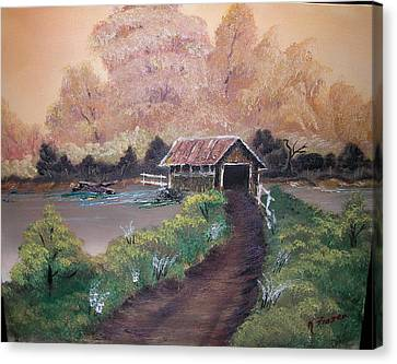 Old Covered Bridge Canvas Print by Ken Frazer