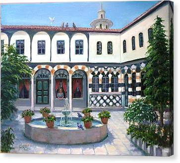 Canvas Print featuring the painting  Old House In Damascus # 2 by Laila Awad Jamaleldin