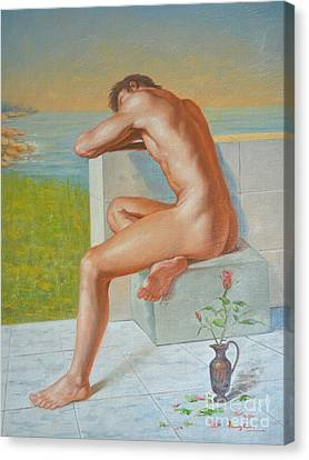 Original Classic Oil Painting Man Body Art  Male Nude And Vase #16-2-4-09 Canvas Print
