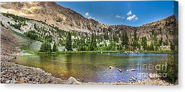 Panoramic View Of An Alpine Lake Canvas Print by Robert Bales