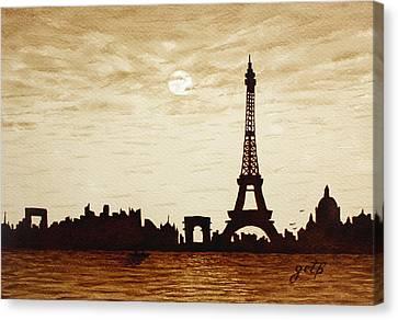 Paris Under Moonlight Silhouette France Canvas Print by Georgeta  Blanaru