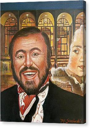 Pavarotti And The Ghost Of Lincoln Center Canvas Print by Melinda Saminski