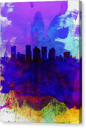 Phoenix Watercolor Skyline 1 Canvas Print by Naxart Studio