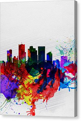 Phoenix Watercolor Skyline 2 Canvas Print by Naxart Studio