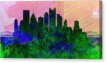 Pittsburgh City Skyline Canvas Print by Naxart Studio
