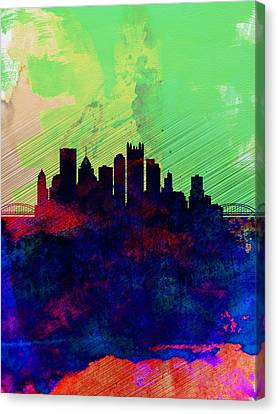 Pittsburgh Watercolor Skyline Canvas Print by Naxart Studio