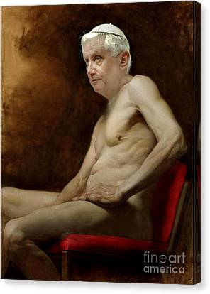 Pope Benedict Seated Nude Canvas Print by Karine Percheron-Daniels