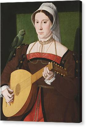 Portrait Of A Woman Playing A Lute Canvas Print by Celestial Images