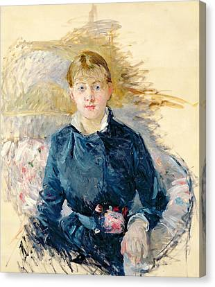 Portrait Of Louise Riesener Canvas Print by Berthe Morisot