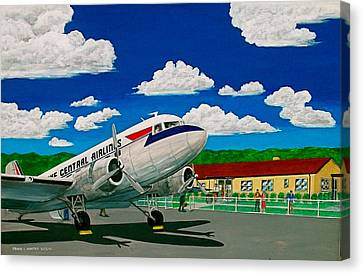 Portsmouth Ohio Airport And Lake Central Airlines Canvas Print by Frank Hunter