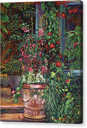 Pot Of Fuschia Flowers Canvas Print by David Lloyd Glover