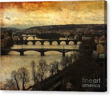 Prague Landscape With Vltava River Canvas Print