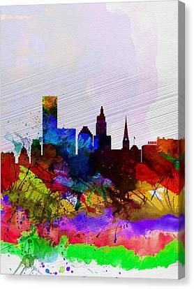 Providence Watercolor Skyline Canvas Print by Naxart Studio