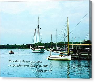 Psalm 107-29 He Maketh The Storm A Calm Canvas Print by Susan Savad