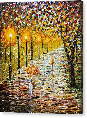 Rainy Autumn Beauty Original Palette Knife Painting Canvas Print by Georgeta Blanaru