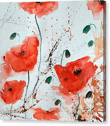 Red Poppies  Canvas Print by Ismeta Gruenwald