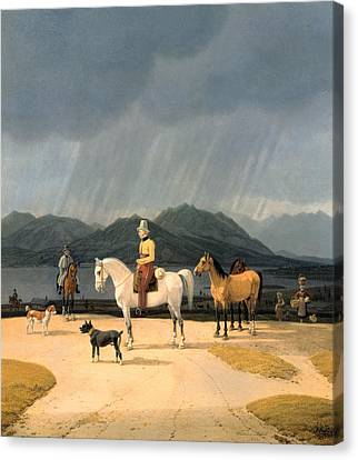 Riders At The Tegernsee Canvas Print by Wilhelm von Kobell