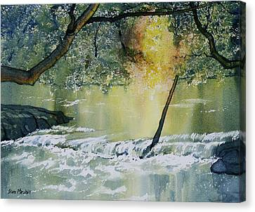 River Esk In Full Flow Canvas Print