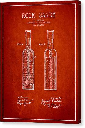 Rock Candy  Patent Drawing From 1881 - Red Canvas Print by Aged Pixel