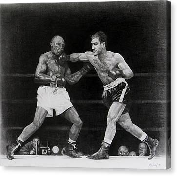 Canvas Print featuring the drawing Rocky Marciano by Noe Peralez