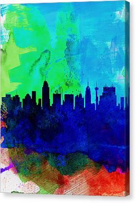 San Antonio Watercolor Skyline Canvas Print by Naxart Studio