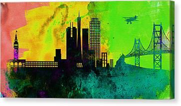 San Francisco City Skyline Canvas Print by Naxart Studio