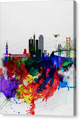San Francisco Watercolor Skyline 1 Canvas Print by Naxart Studio