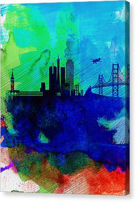 San Francisco Watercolor Skyline 2 Canvas Print