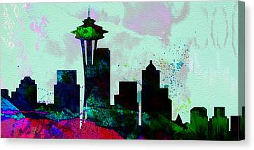Seattle City Skyline Canvas Print by Naxart Studio