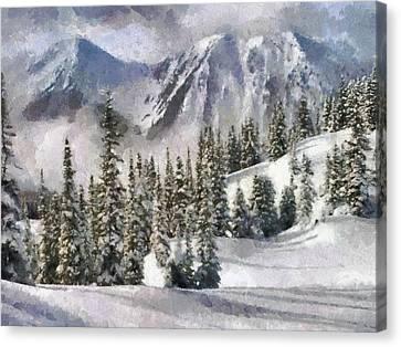 Snow In The Mountains Canvas Print by Georgi Dimitrov