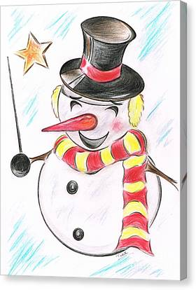 Snowmans  Stardom Canvas Print by Teresa White